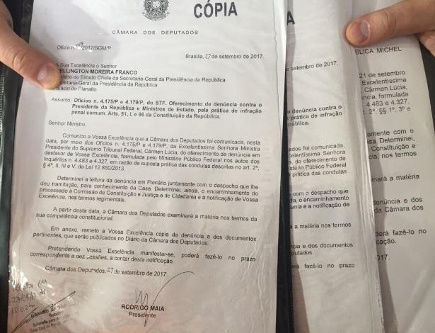 27.set.2017 - Palácio do Planalto foi oficialmente notificado da denúncia contra o presidente Michel Temer e os ministros Moreira Franco e Eliseu Padilha