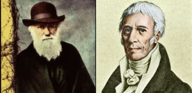 A teoria de Charles Darwin (esq.) eclipsou a do francês Lamarck (dir.) - Science Photo Library
