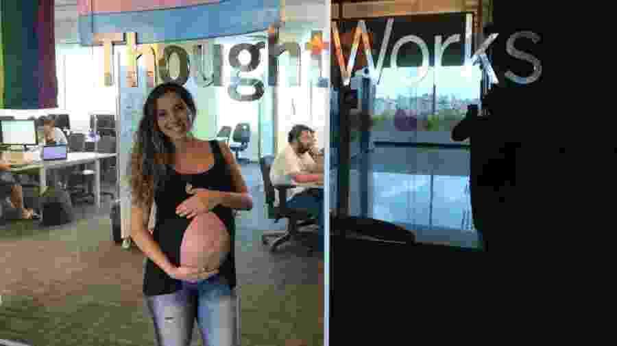 A designer Marcela Caldeira, 35, foi admitida, aos noves meses de gravidez, pela ThoughtWorks - Divulgação