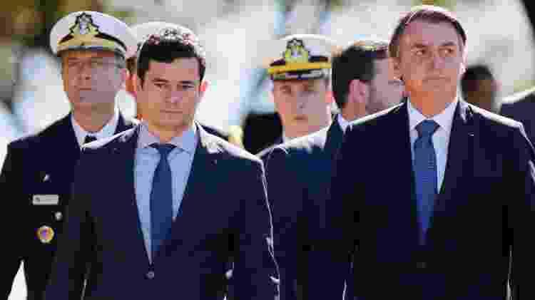 Presidente Jair Bolsonaro e o ministro da Justiça Sergio Moro na comemoração dos 154º aniversário da Batalha Naval de Riachuelo - Adriano Machado/Reuters - Adriano Machado/Reuters
