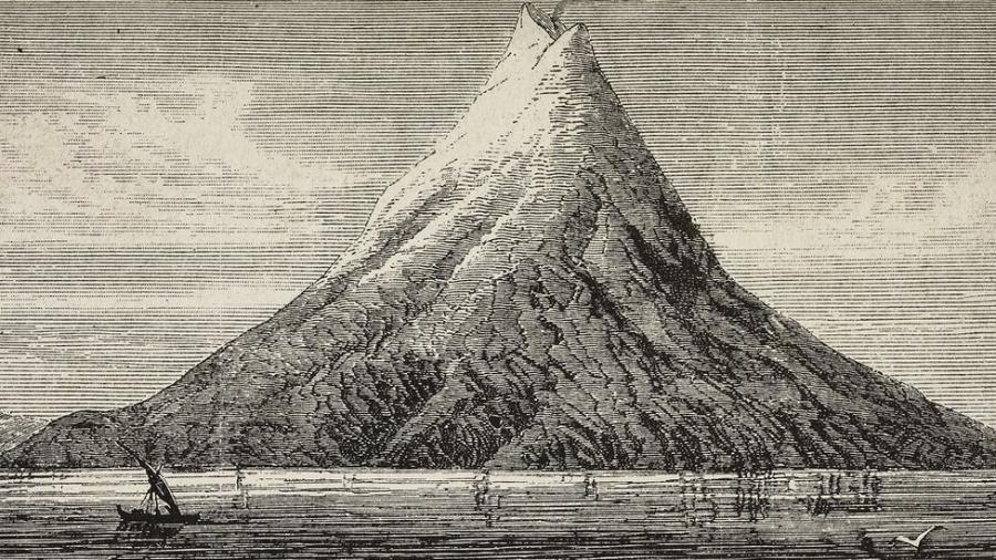 Ilustração do Krakatoa antes da erupção de 1883 - Getty Images