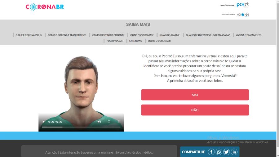 CoronaBR, serviço de triagem online do coronavírus no Brasil - Reprodução