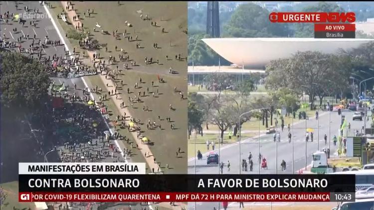 Manifestações a favor e contra Bolsonaro em Brasília, neste domingo (7) - Reprodução/GloboNews