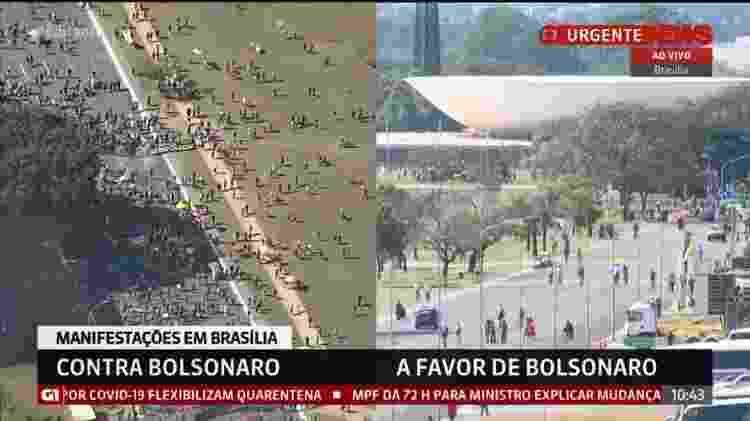 Manifestações a favor e contra Bolsonaro em Brasília, no domingo (7) - Reprodução/GloboNews - Reprodução/GloboNews