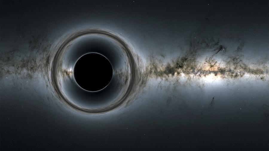 Simulação de um buraco negro supermassivo - Goddard Space Flight Center/ Nasa; fundo - ESA/Gaia/DPAC