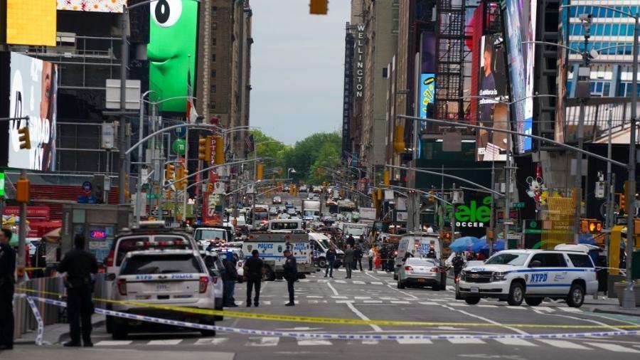 8.mai.21 - Polícia prende suspeito de abrir fogo na Times Square, em Nova York; três pessoas ficaram feridas - David Dee Delgado/Getty Images