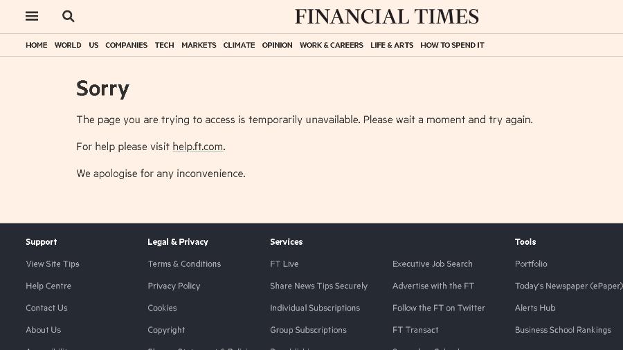 Sites de notícias, como o Financial Times, amanhecem fora do ar por instabilidade - Reprodução