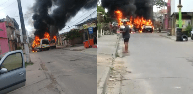 Vans são incendiadas em meio a conflito entre milicianos no RJ