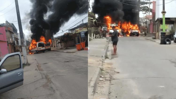 16.set.2021 - Vans incendiadas em bairros da zona oeste do Rio - Reprodução/Facebook - Reprodução/Facebook