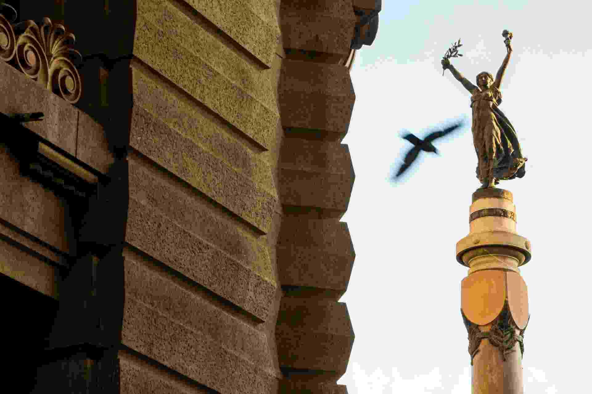 GLÓRIA IMORTAL DOS FUNDADORES DE SP - No monumento em frente ao Pátio do Colégio, a cidade de São Paulo é representada por uma figura feminina que aparece no topo da escultura de quase 26 metros de altura. Já a base da obra possui imagens que ilustram o cotidiano dos primeiros anos de São Paulo - Ricardo Matsukawa/ UOL