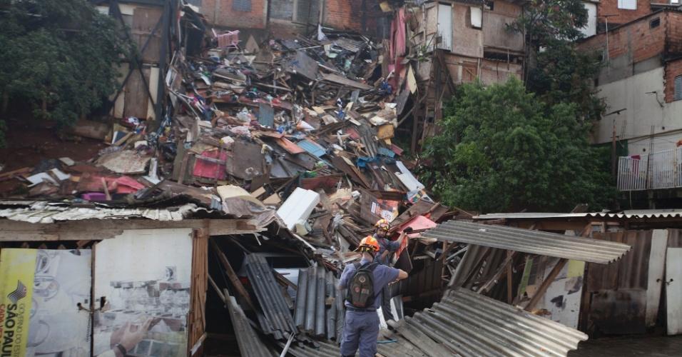 5.jun.2016 - Ao menos duas pessoas ficaram feridas após o desabamento de cerca de 20 casas em Paraisópolis, zona sul de São Paulo. O desabamento aconteceu por volta das 7h, e 20 carros da corporação foram para o local para fazer o resgate das vítimas. Os feridos foram encaminhados ao pronto-socorro de Campo Limpo