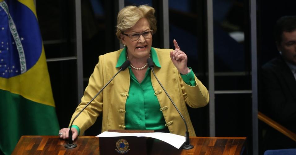 29.ago.2016 - A senadora Ana Amélia (PP-RS) discursa no Senado Federal, em Brasília, dia da defesa da presidente afastada, Dilma Rousseff, no processo de impeachment