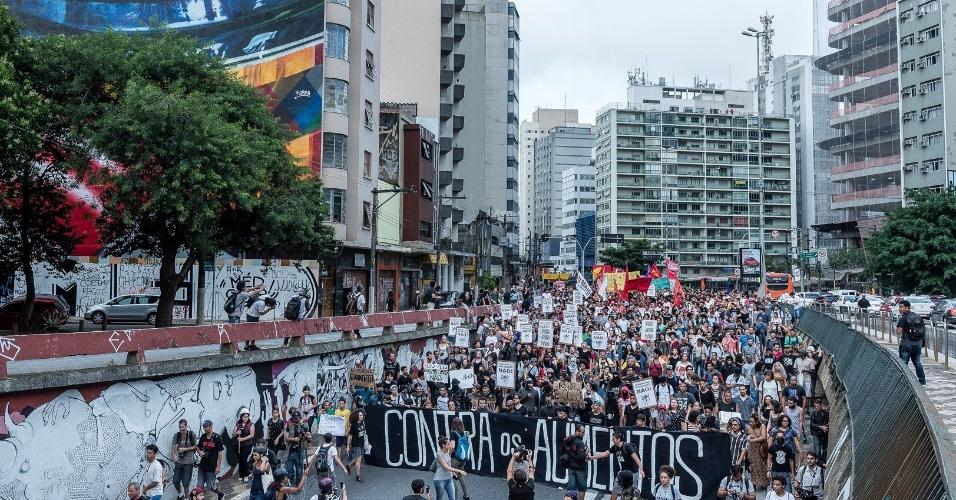 Primeiro ato de 2017 contra reajuste das tarifas de transporte público convocado pelo Movimento Passe Livre, em São Paulo