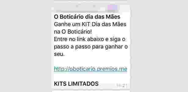 Golpe WhatsApp envolvendo a empresa O Boticário - UOL - UOL