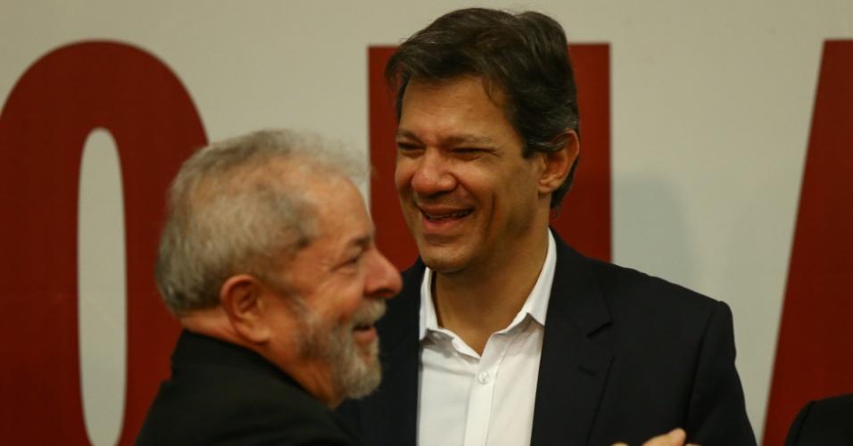 2017 - O ex-presidente Luiz Inácio Lula da Silva e o ex-prefeito Fernando Haddad participam de ato em defesa das universidades públicas e institutos federais, em Brasília