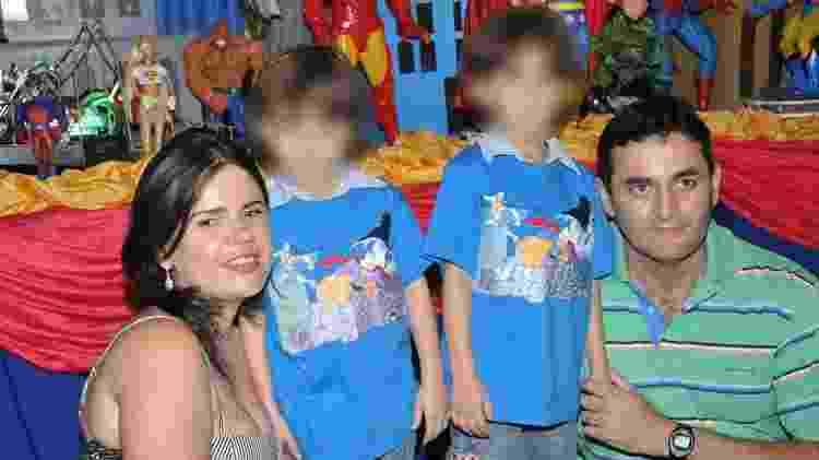 O tenente-coronel André Luiz, a mulher Luciana Arminda e os filhões gêmeos de 11 anos - Arquivo pessoal