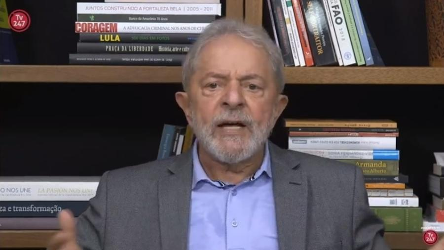 27.nov.2019 - O ex-presidente Luiz Inácio Lula da Silva (PT) dá entrevista ao site Brasil 247 - Reprodução/Brasil 247