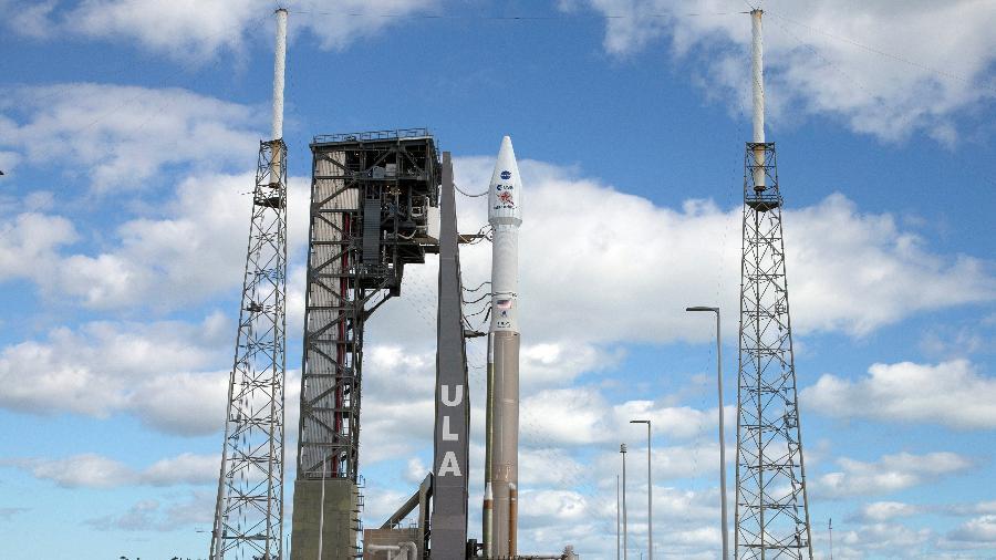 A espaçonave Solar Orbiter, contruída pela Nasa e a Agência Espacial Europeia, pronta para o lançamento em Cabo Canaveral, nos EUA - AFP/Joe Skipper
