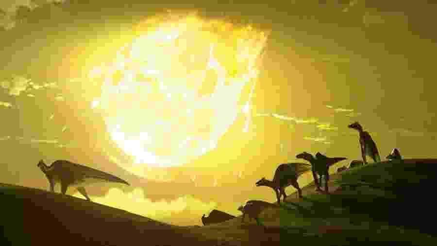 Arte da Imperial College London mostra extinção dos dinossauros na Terra em impacto de asteroide - Divulgação/Imperial College London