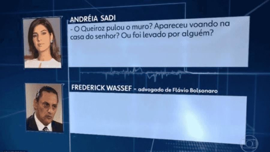 """""""Queiroz pulou o muro? Apareceu voando na casa do senhor?"""", disse Andréia Sadi - Reprodução/Twitter"""
