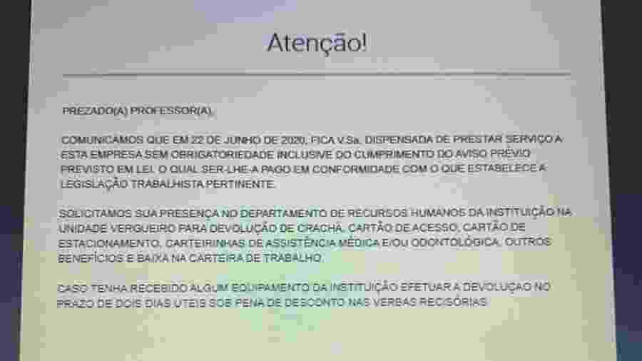 Mensagem de demissão enviada por notificação pop-up a professores da Uninove - Reprodução
