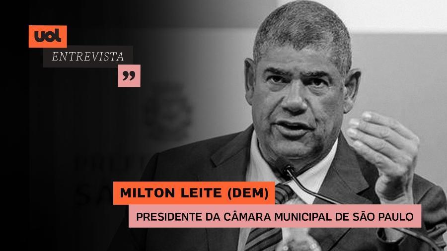 Milton Leite (DEM), presidente da Câmara Municipal de São Paulo, participa do UOL Entrevista (20.05.21) - Arte/UOL
