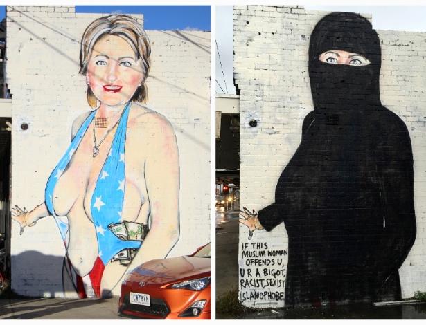 Após críticas, australiano Lushsux cobriu Clinton com uma burca, levantando nova polêmica