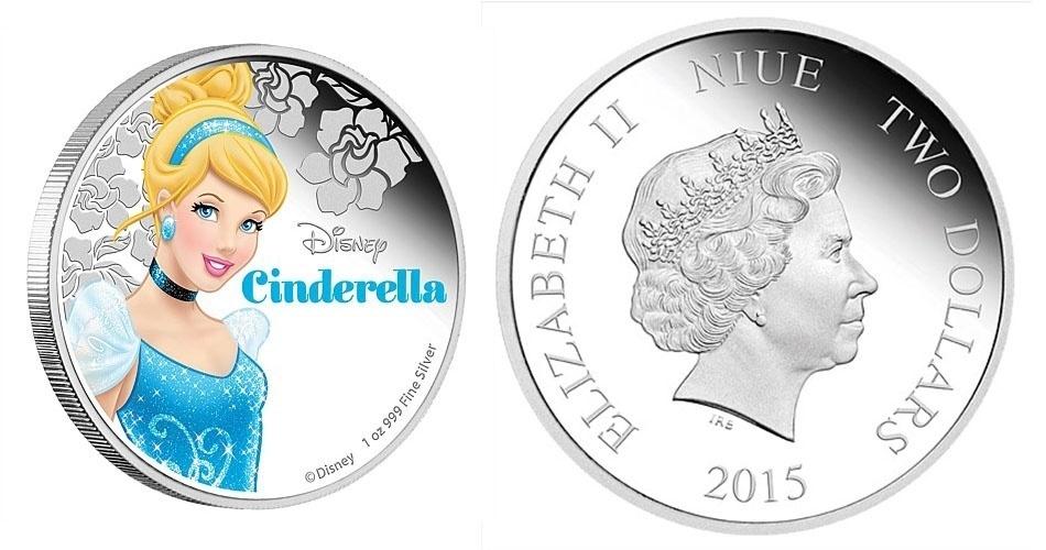 Moeda de 2 dólares de Niue, ilha do Pacífico que é um território associado da Nova Zelândia, estampada com a Cinderela; a edição faz parte de uma série especial com princesas da Disney