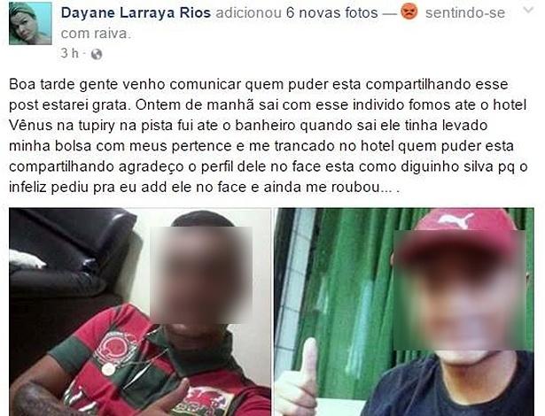Dayane escreveu post em seu perfil denunciando o furto