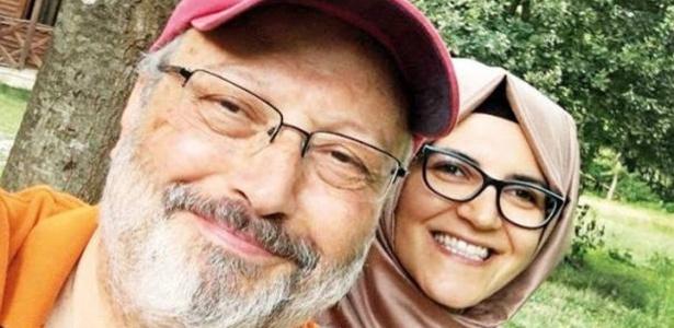 Jamal Khashoggi e sua noiva, Hatice Cengiz, agora sob proteção policial - Reprodução