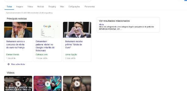 Buscou  idiota  no Google  Ferramenta de pesquisa vai mostrar links sobre o  presidente 2979fc69f4