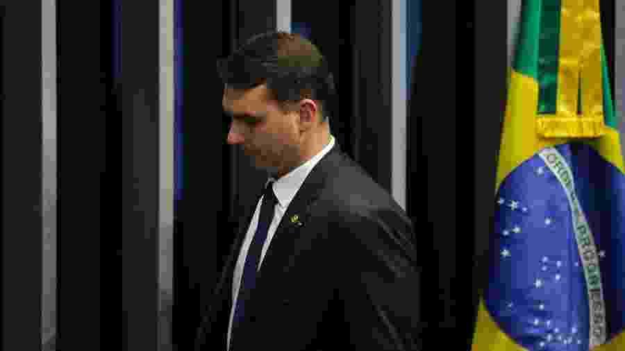 1.fev.2019 - Senador Flávio Bolsonaro (PSL-RJ) no  plenário do Senado - DIDA SAMPAIO/ESTADÃO CONTEÚDO