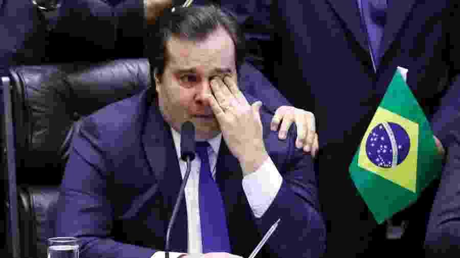 10.jul.2019 - O presidente da Câmara, Rodrigo Maia (DEM-RJ), chora após aprovação da reforma da Previdência - Luís Macedo/Agência Câmara
