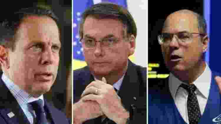 Bolsonaro (centro) criticou as restrições impostas pelos governadores João Doria (esq.) e Wilson Witzel - ABR