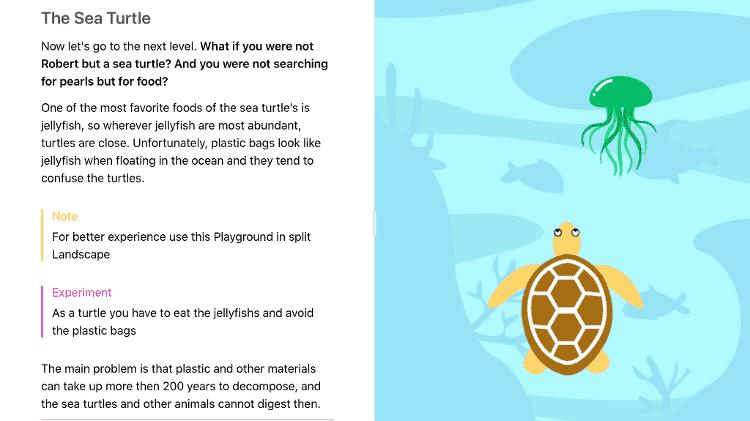 Tela do jogo The Sea Turtle, criado pela brasileira Jessica Matsuura, premiada pela Apple - Divulgação - Divulgação