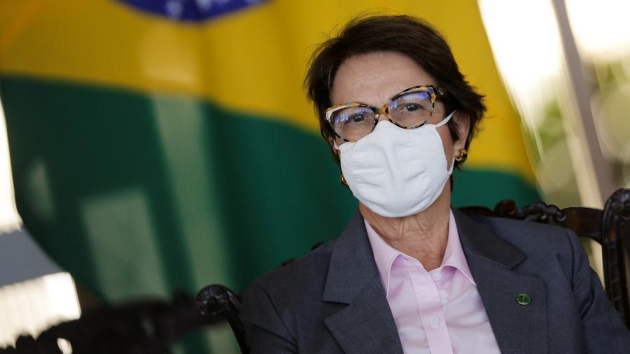 A ministra da Agricultura, Tereza Cristina, reforçou que as contratações de crédito já somam 17% a mais do que a safra passada - ADRIANO MACHADO