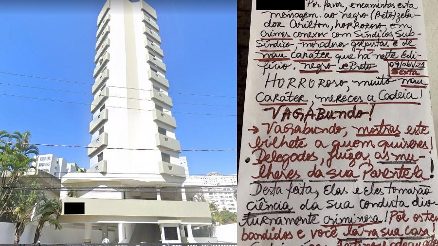 Mulher escreveu ofensas na porta do apartamento de uma das vizinhas em abril - Reprodução/Google Maps e arquivo pessoal