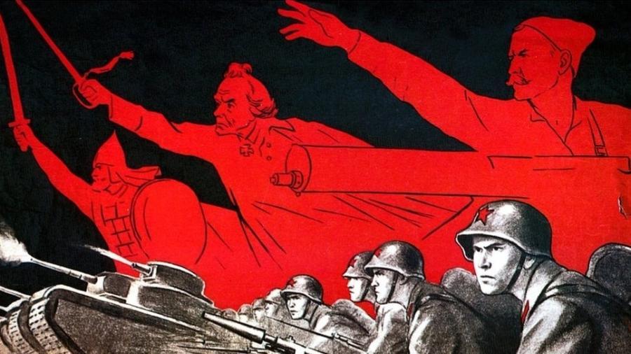 Propaganda foi fundamental na Segunda Guerra Mundial. Os soviéticos, como neste pôster, tentaram manter moral alta para resistir à invasão nazista - Getty