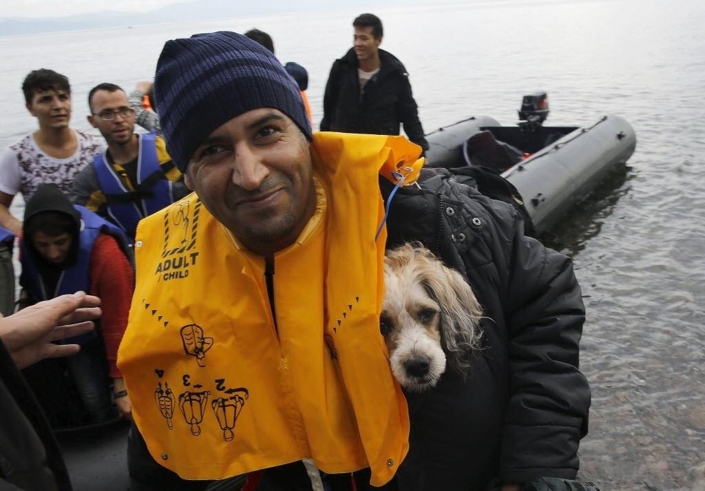 24.set.2015 - Imigrante afegão carrega cão no seu colete salva-vidas após chegar à ilha grega de Lesbos em um bote superlotado depois de atravessar parte do mar Egeu, vindo da Turquia