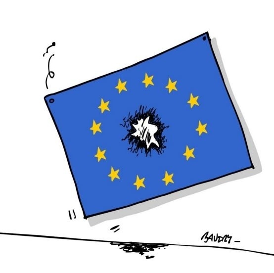22.mar.2016 - O cartunista francês Hervé Baudry representou o ataque ao centro da União Europeia em uma de suas charges sobre o atentado terrorista em Bruxelas
