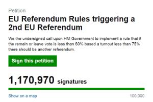 Reprodução do site petition.parliament.uk de petição que pede novo referendo sobre saída do Reino Unido da UE
