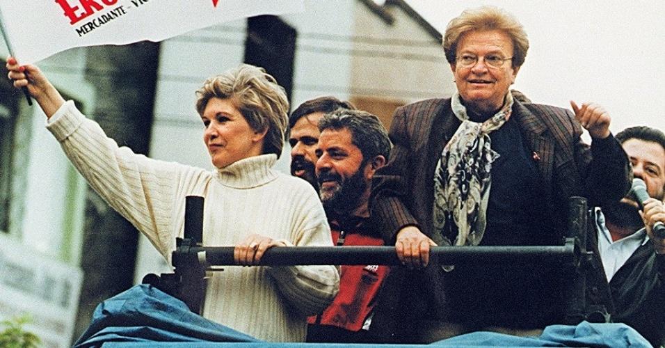 5.set.1996 - Marta Suplicy e Lula participam de carreta durante campanha de Luiza Erundina pelo PT pela Prefeitura de São Paulo