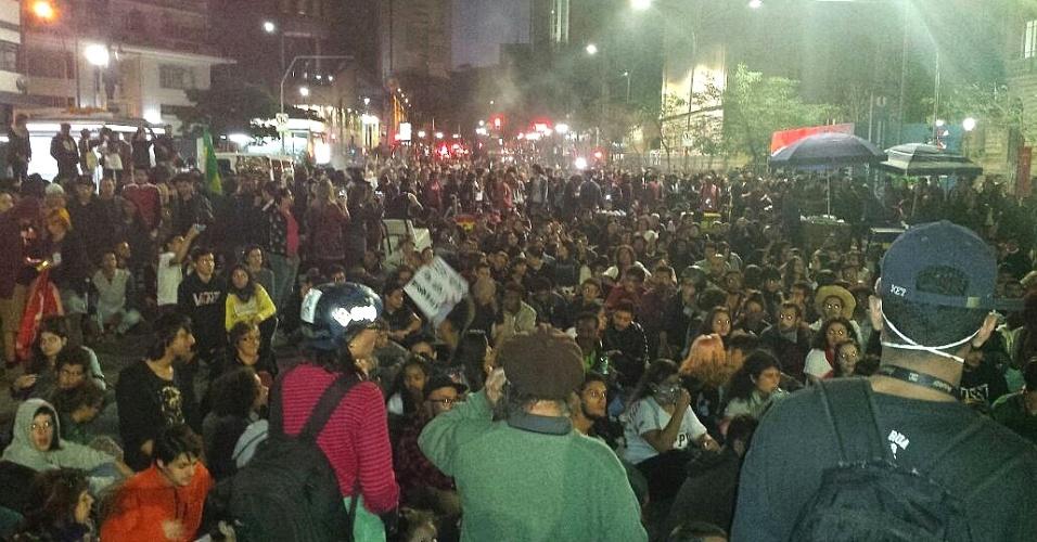 7.set.2016 - Protesto de manifestantes contrários ao presidente Michel Temer chega à Praça da República, em São Paulo