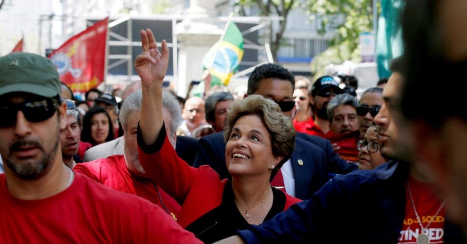 4.nov.2016 - A ex-presidente Dilma Rousseff participa no Uruguai de vários eventos organizados pela central PIT CNT e a governista Frente Ampla