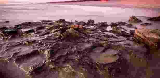 """Imagem mostra as pegadas do """"Walmadanyichus hunteri"""" nas rochas de até 140 milhões de anos, situadas na jazida australiana conhecida como """"Jurassic Park"""" - Damian Kelly/Universidade de Queensland/AFP - Damian Kelly/Universidade de Queensland/AFP"""