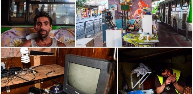 Wladimir del Vecchio (no alto, à esq.) montou uma verdadeira casa sob o Minhocão, em São Paulo; Luciano Muniz fez sua moradia de madeira em uma praça  - Guilherme Henrique/BBC Brasil