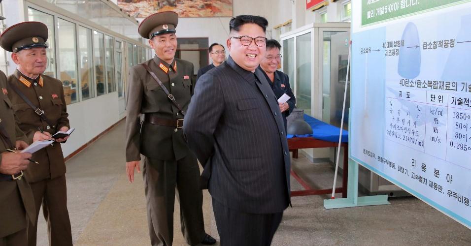 23.ago.2017 - Kim Jong-un inspeciona o Instituto de Material Químico nesta quarta-feira, em Pyongyang