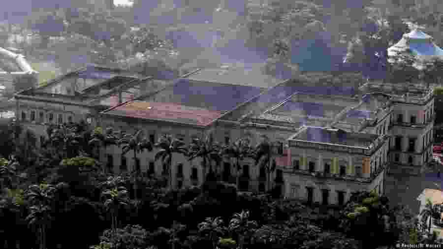 Imagem do Museu Nacional após o incêndio do dia 2 de setembro de 2018 - Reuters/R. Moraes