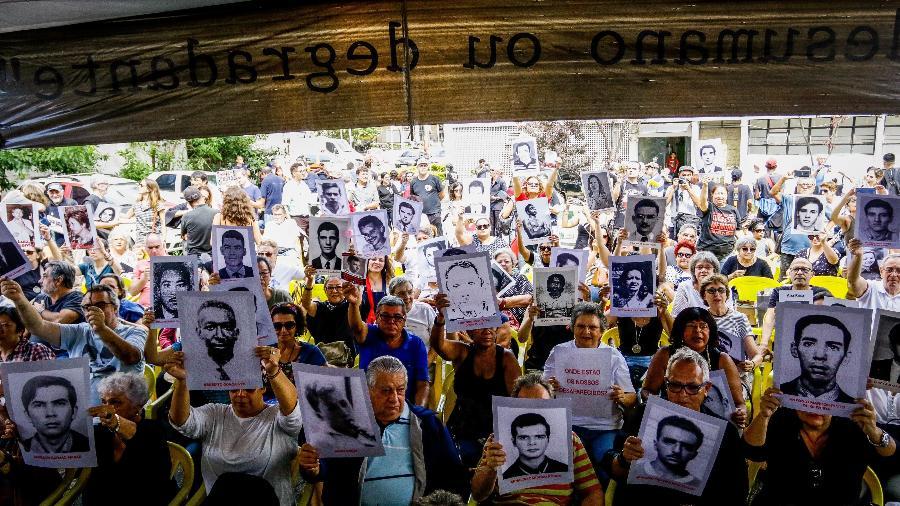 6° Ato Unificado Ditadura Nunca Mais, onde familiares dos torturados e desaparecidos se reúnem nas dependências do antigo DOI-CODI, na zona sul de São Paulo, em 2019 - ALOISIO MAURICIO/FOTOARENA/ESTADÃO CONTEÚDO