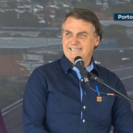 10.dez.2020 - O presidente Jair Bolsonaro inaugura o eixo principal da nova ponte do Guaíba em Porto Alegre - Reprodução/TV Brasil